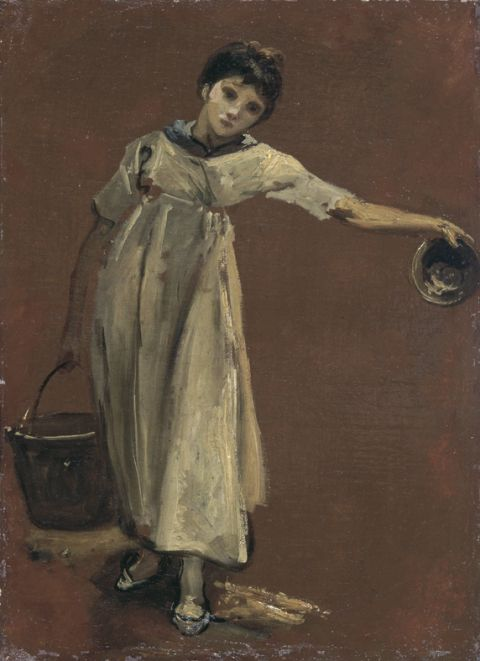 Girl carrying a pail (Oil on canvas)