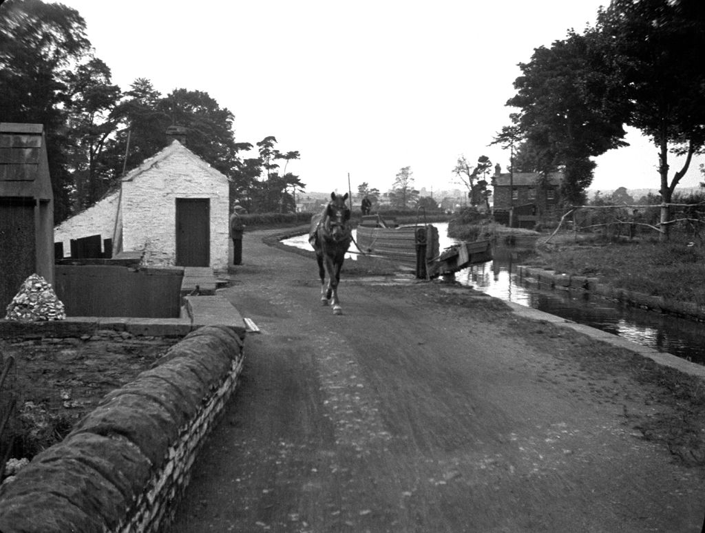 Gabalfa Lock, Glamorganshire canal (b/w photo)