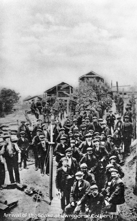 Arrival of the Spake, Cwmgors Colliery (b/w photo)