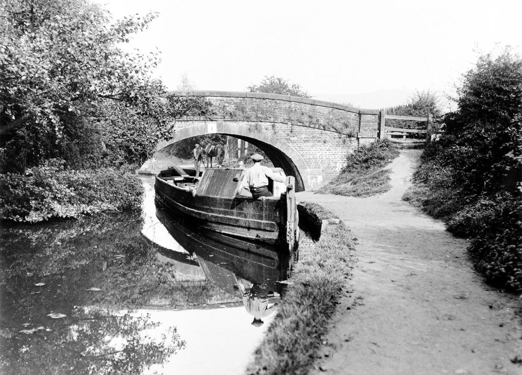 Barge at Crinday, Monmouth & Brecon canal bridge No.1 (b/w photo)