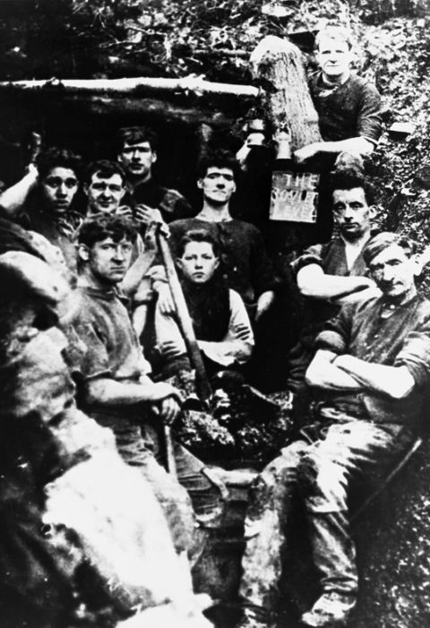 Coal miners, Glynneath (b/w photo)
