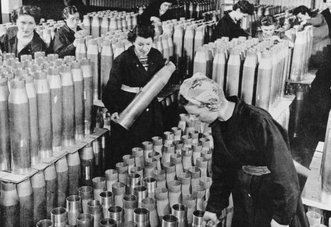 Women manufacturing ammunition shells, c1939 (b/w photo)