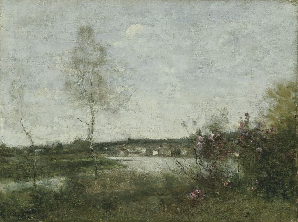 Distant view of Corbeil, morning c1870 (oil on canvas)