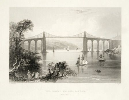 The Menai Bridge, Bangor. (North Wales)