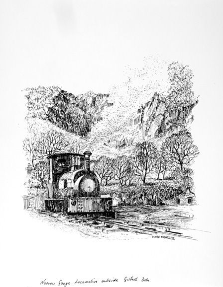 Narrow Gauge Locomotive Outside Gilfach Coch