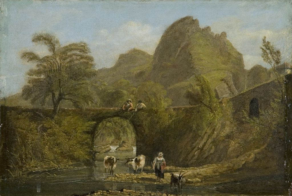 Dynas rock and bridge, 1820 (oil on panel)