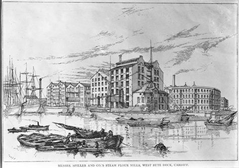 An artist's impression of the first Spillers mill in Cardiff, which was destroyed by fire in 1882.