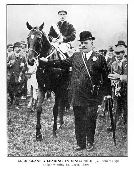 Lord Glanely leads in <em>Singapore</em>, victorious in the 1930 St Leger; the jockey was Gordon Richards
