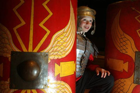 Boy dressed up in Roman armour