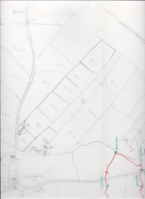tracing of map showing Hendre'r Ywydd Uchaf