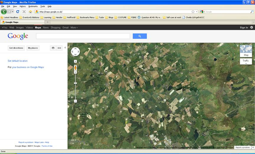 Screengrab of a googlemaps view, showing many fields