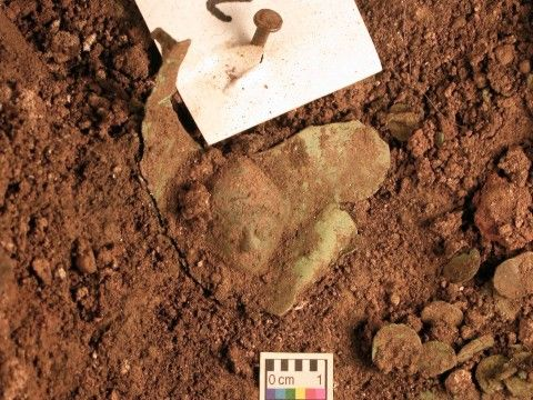Roman Armour from Caerleon. Plaque just before removal from the soil.