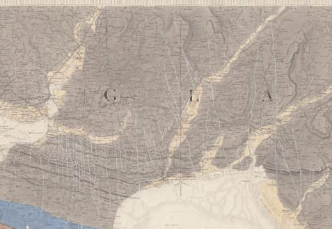 The first Geological Survey map of the Swansea district, mapped by W.E. Logan and Henry De la Beche, handcoloured, published in 1844.