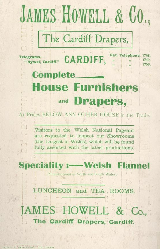 Full-page advertisement for James Howell & Co - featured in a guide to the National Pageant of Wales, 1909. Published by the Great Western Railway Co.