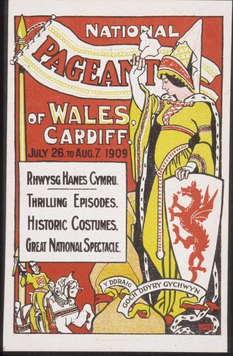 Postcard issued to commemorate the National Pageant of Wales, 1909