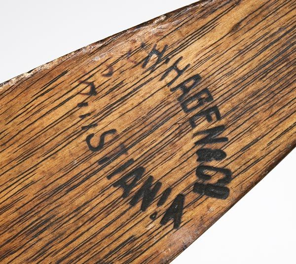The mark of L.H. Hagen & Co., Christiania, on the base of each ski.