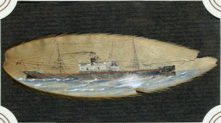 Unknown steamer painted on leaf