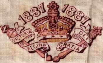 Detail of a wholecloth quilt from Abergwawr made to commemorate Queen Victoria's Golden Jubilee in 1887