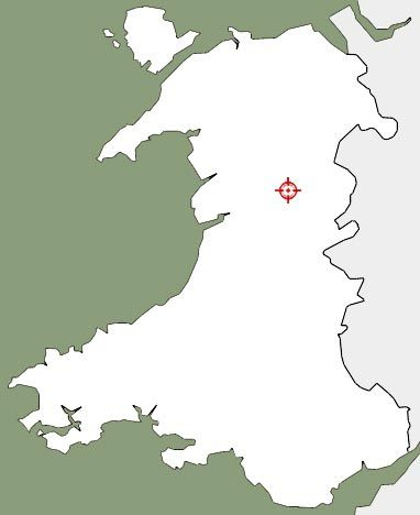 Map of Wales showing plot of the original location of the historic building