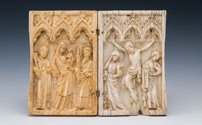 The diptych showing the resin replica of the Liverpool piece on display at National Museum Cardiff