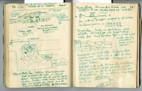 Cyril Fox archive. Notebook XII: Pages 73 and 74