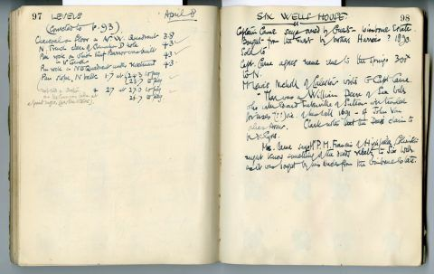 Cyril Fox archive. Notebook XII: Pages 97 and 98