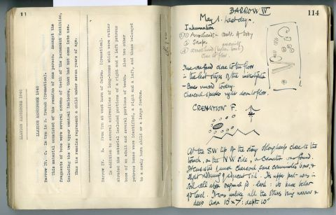 Cyril Fox archive. Notebook XII: Pages 113 and 114