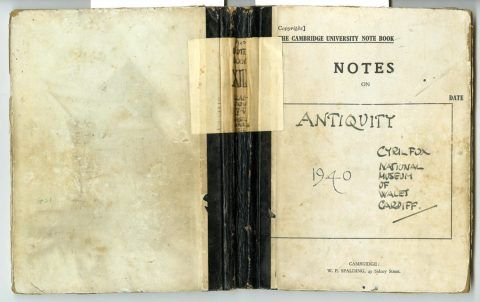 Cyril Fox archive. Notebook XIII: Front and back cover