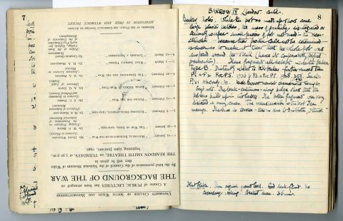 Cyril Fox archive. Notebook XIII: Pages 7 and 8 [back of insert]
