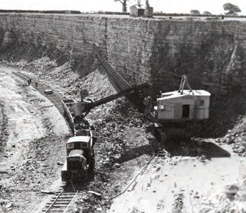 A limestone quarry near Aberthaw in the 1950s.