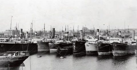 Barry docks, c.1910, with ships moored to buoys waiting to load coal.