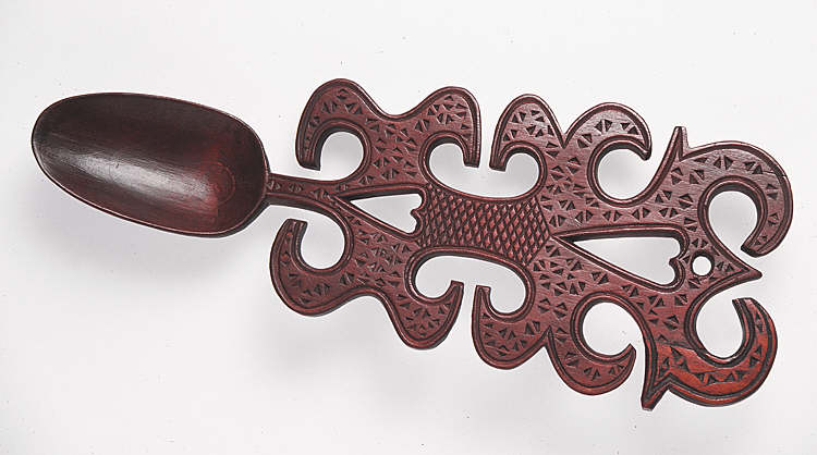 Lovespoon, with fretted heart devices and chip-carving
