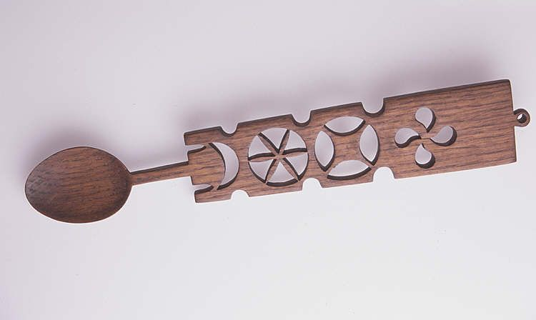 Lovespoon, with panel handle and geometrical designs