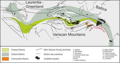 Area of coal swamps of Variscan Euramerica.  Drawn by C. Cleal.