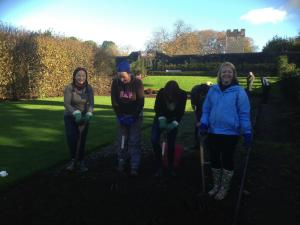 Volunteers preparing to dig over the rose bed.