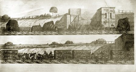 Two views of goods trains,1831