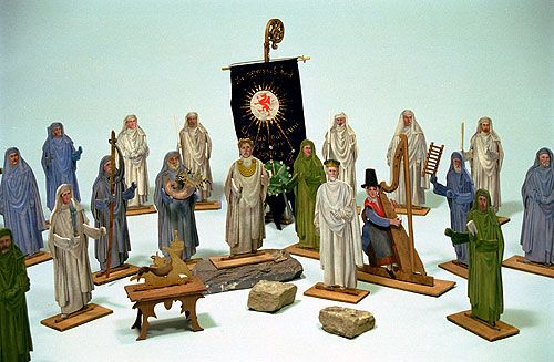 Wooden models of the Bangor National Gorsedd, 1914 (postponed until 1915) by the Vale of Clwyd Toys Company, Trefnant, Denbighshire.