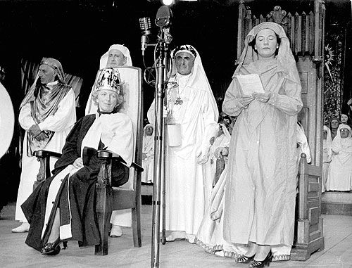 The Crowning of Dilys Cadwaladr at the Rhyl National Eisteddfod, 1953.