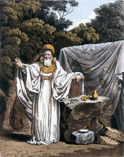Ancient Druid: 'An Archdruid in his Judicial Habit' from Costume of the Original Inhabitants of the British Isles (1815) by Samuel Rush Meyrick and Charles Hamilton Smith.