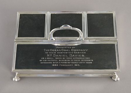 Writing set presented by the Ocean Coal Company to their respected Cashier Mr Daniel Davies
