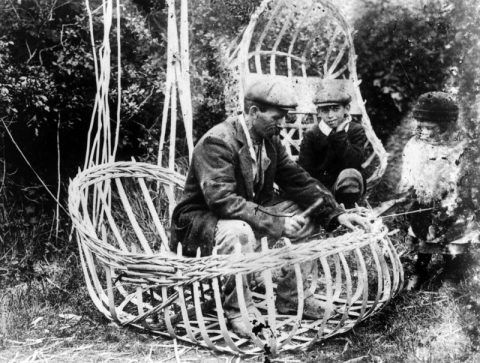 William Griffiths of Llechryd finishing off the frame of a Teifi coracle