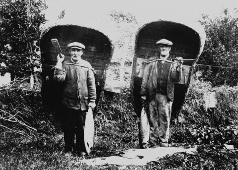 Cilgerran coricle-men William Johnson and John Morgan with their haul of fish, 1905.