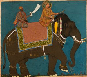 Sultan Muhammad Adil Shah and Ikhlas Khan riding an elephant © The Collection of Howard Hodgkin