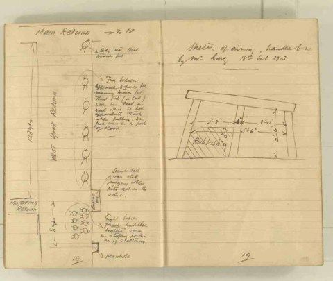 Notes made by the Inspector of Mines as he travelled around the devastated underground workings following the Senghenydd mine explosion on 14th October 1913 that killed 439 men. Courtesy of the National Coal Mining Museum for England [Notebook 1/2]