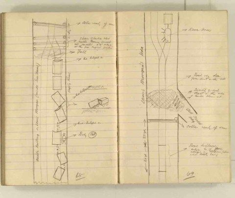 vNotes made by the Inspector of Mines as he travelled around the devastated underground workings following the Senghenydd mine explosion on 14th October 1913 that killed 439 men. Courtesy of the National Coal Mining Museum for England [Notebook 1/2]