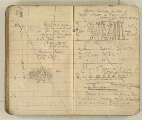 Notes made by the Inspector of Mines as he travelled around the devastated underground workings following the Senghenydd mine explosion on 14th October 1913 that killed 439 men. Courtesy of the National Coal Mining Museum for England [Notebook 3/4]