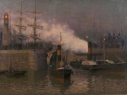 Entrance to Cardiff Docks, evening