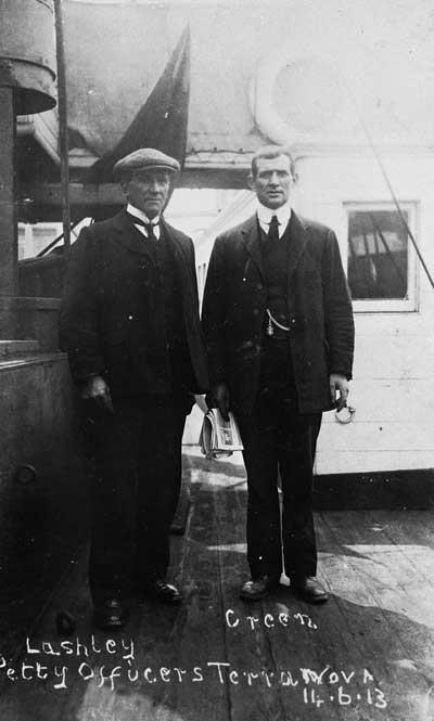 Petty Officers William Lashly (left) and Tom Crean on board the <em>Terra Nova</em> on her return to Cardiff, 14 June 1913