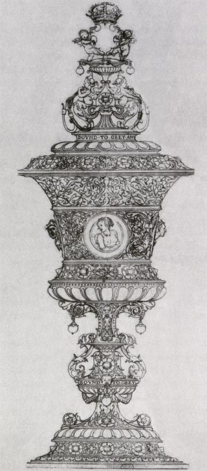 The original design for the cup given to Queen Jayne Seymour in 1536-37