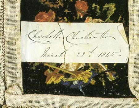 The Edwinsford sofa - One canvas square was dated on the reverse 'Charlotte Chichester March 22nd 1845'